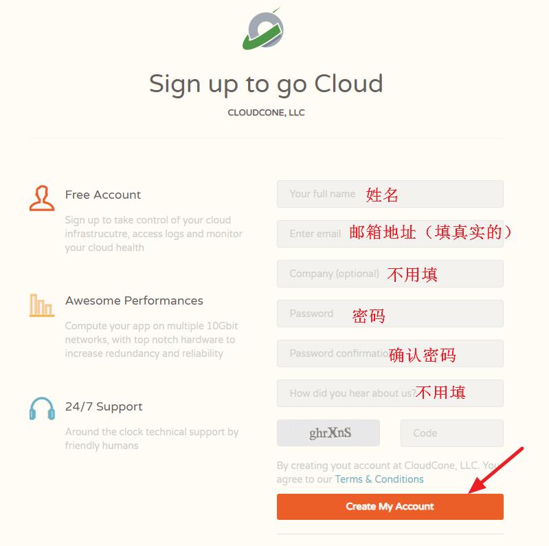 CloudCone创建新账号