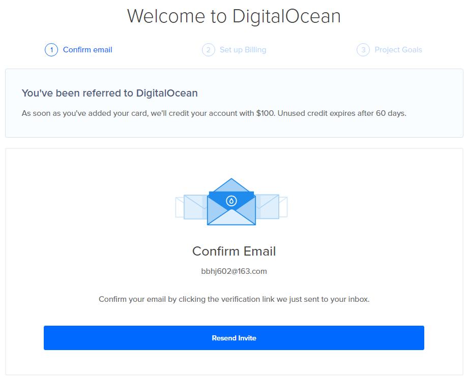 DigitalOcean账号开通确认邮件