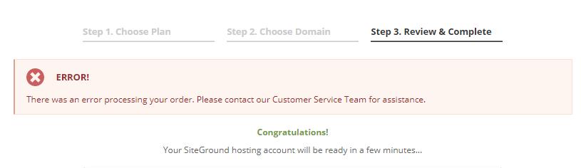 SiteGround购买错误提示