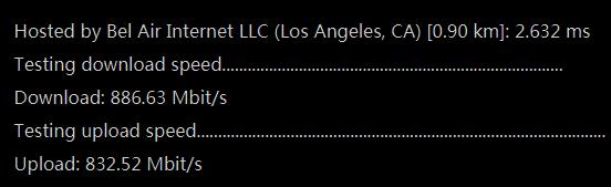 PacificRack洛杉矶机房服务器带宽测试