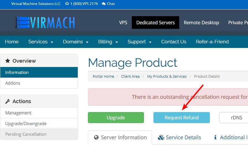 Virmach申请退款