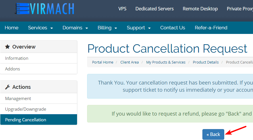 Virmach退款确认页面