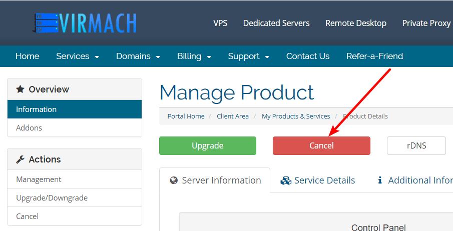 Virmach取消产品服务
