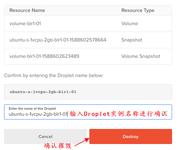 确认删除Droplet方案