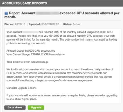 由于CPU使用率高而停止SiteGround服务