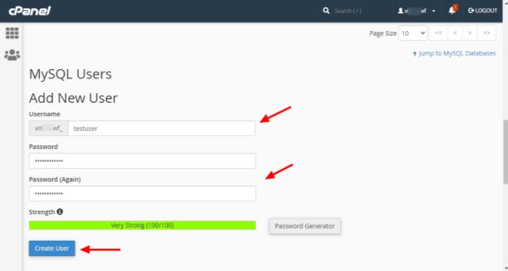 创建新的用户名和密码
