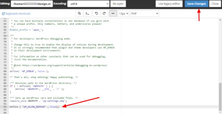 编辑wp-config.php文件