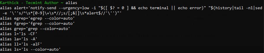 检查已定义Linux别名的列表