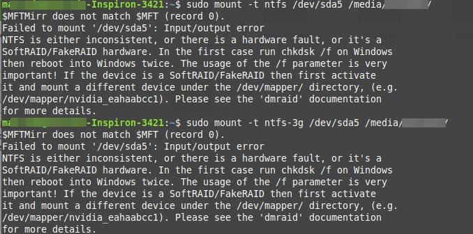 '/dev/sdax': Input/output无法挂载错误