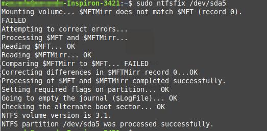 修复NTFS无法挂载错误