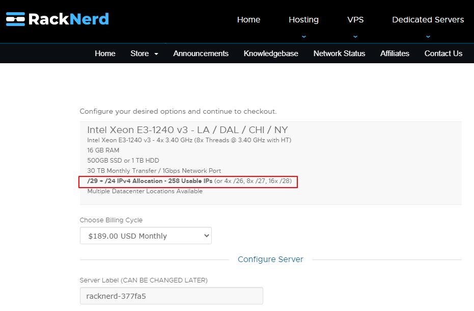 RackNerd美国站群服务器方案配置