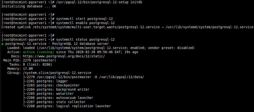 初始化PostgreSQL数据库