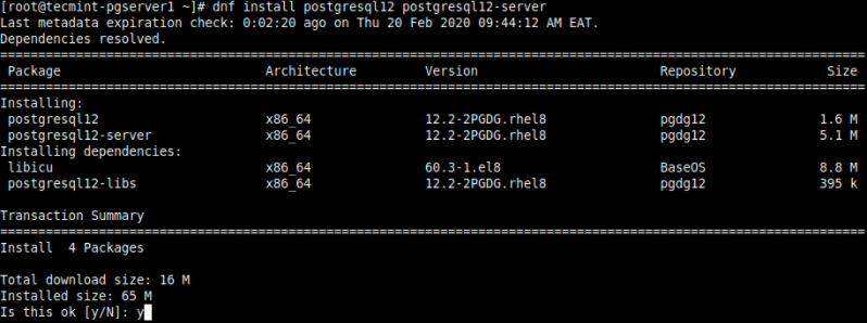 在CentOS 8上安装PostgreSQL