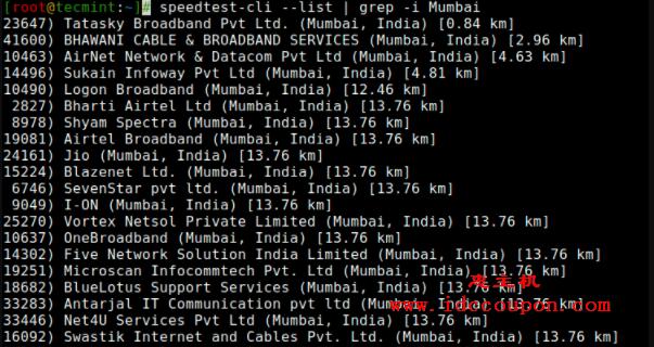 列出最近的Speedtest服务器