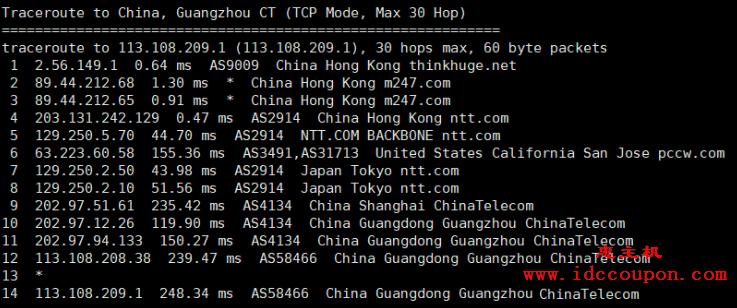 广州电信回程路由节点情况