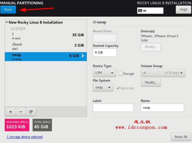 Rocky Linux 分区表