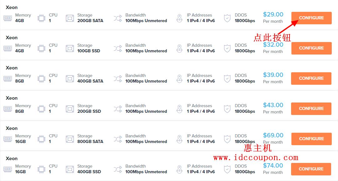 云服务器产品列表页面