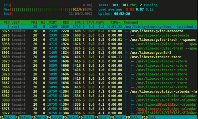 树格式的Htop进程视图