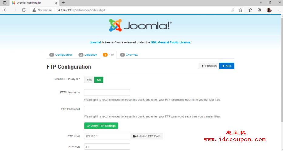 Joomla FTP 配置