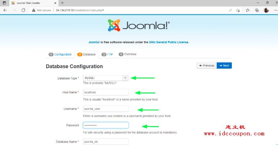Joomla数据库配置