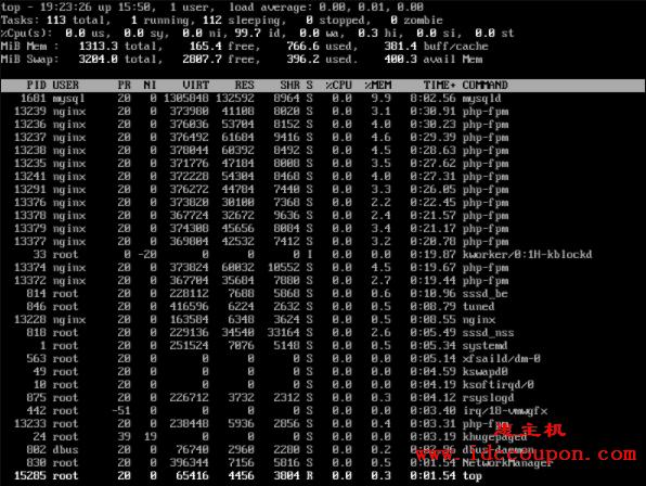 按 PID 列出的 Linux 进程列表