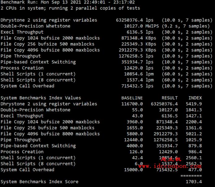 Unixbench跑分测试